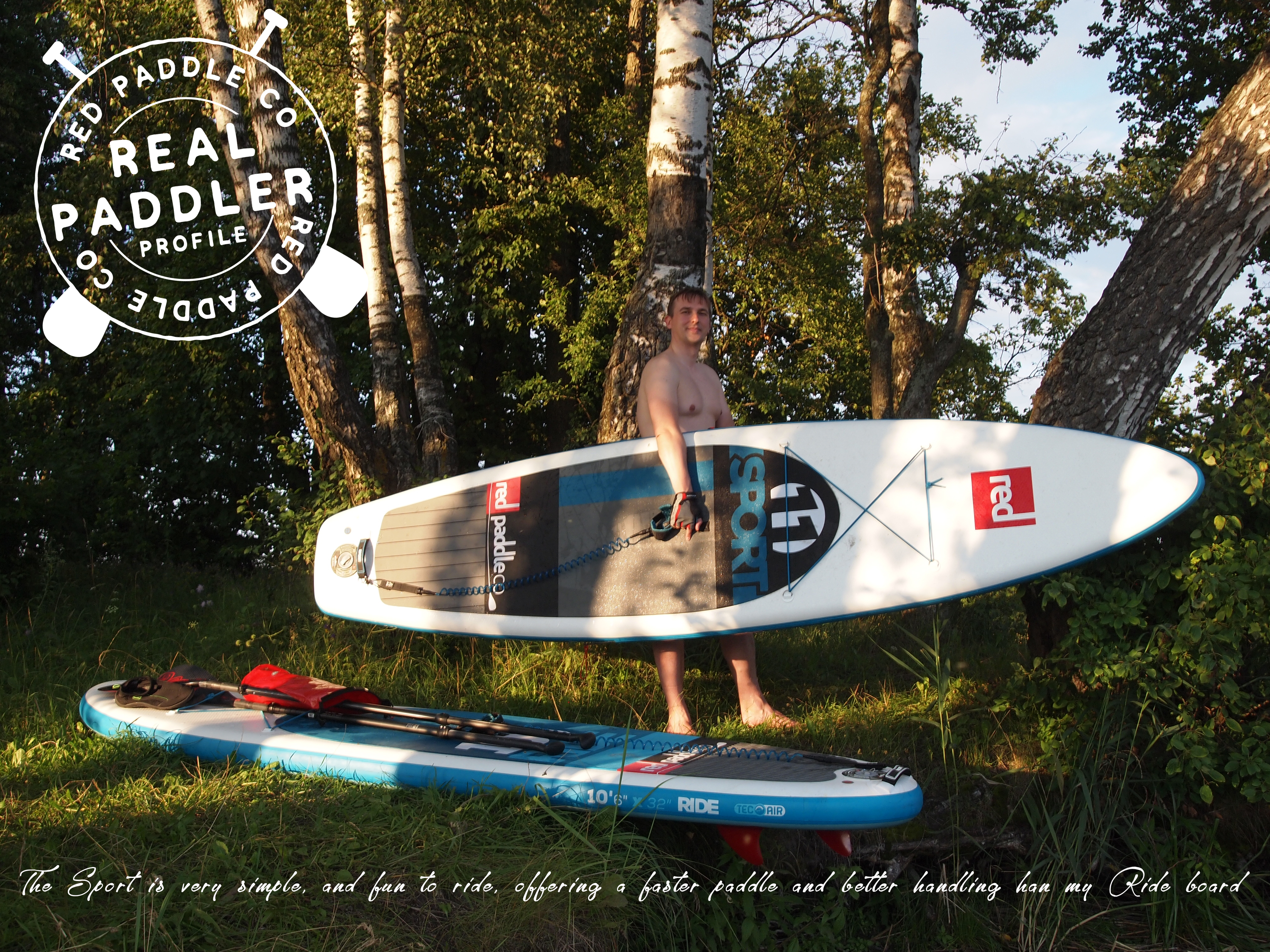 Man holding inflatable paddle board