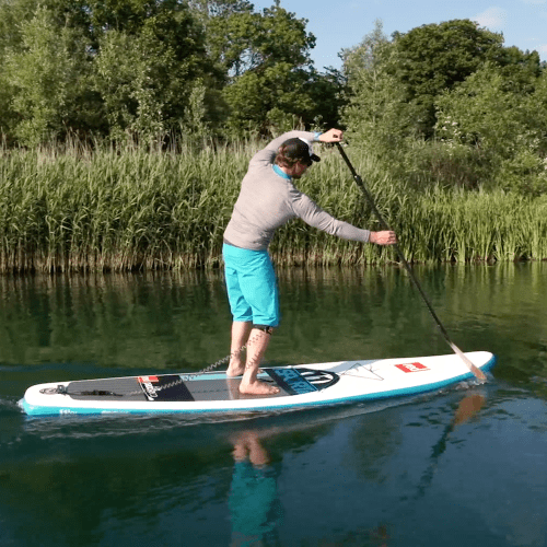 man learning how to SUP