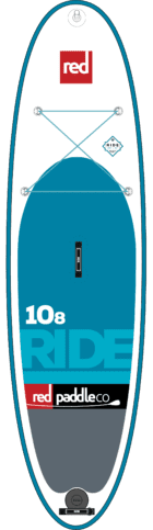 10'8 ride, all round inflatable stand up paddleboard, showing graphics