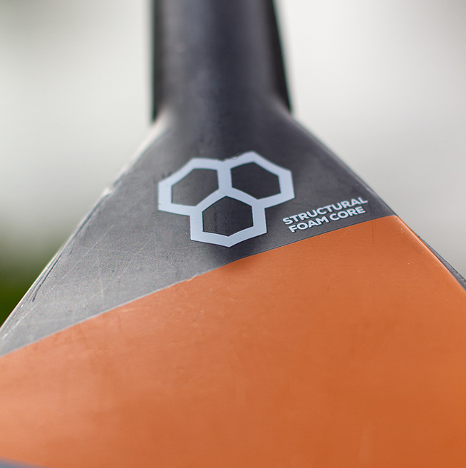 close up of ultimate carbon paddle blade