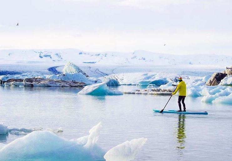 Winter paddle boarding with Red Paddle Co in Glacier Lagoon, Iceland