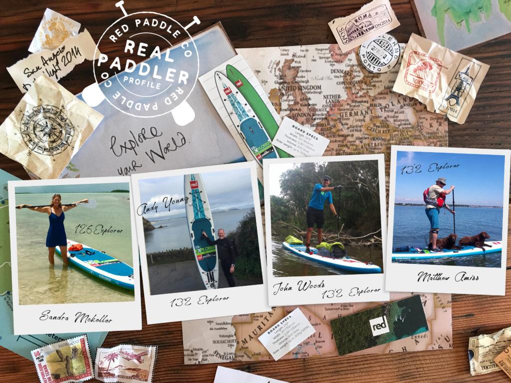 Polaroid pics of paddle boarders