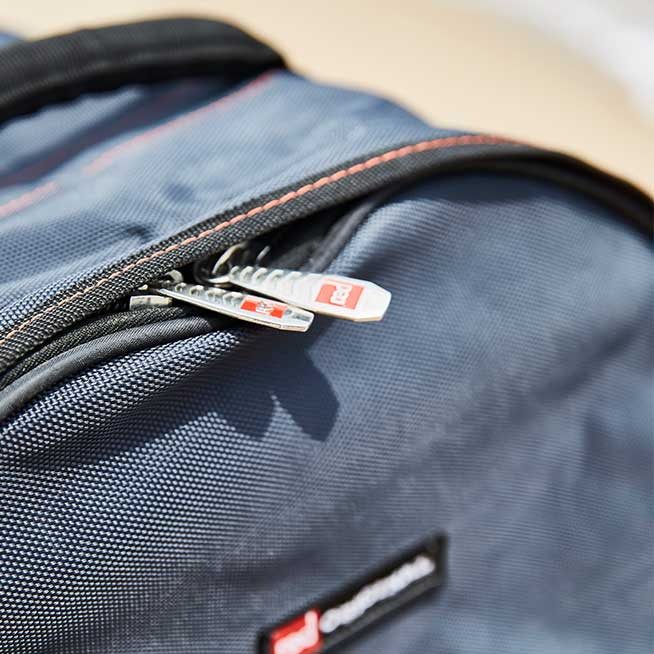 toughened zip on Red Paddle Co back pack