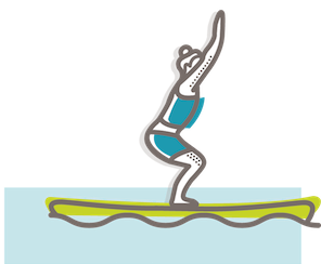 SUP yoga chair pose illustration