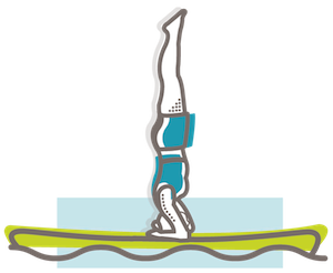 SUP yoga headstand illustration