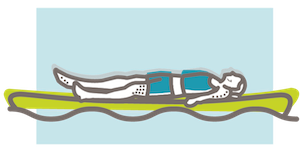 SUP yoga shavasana illustration