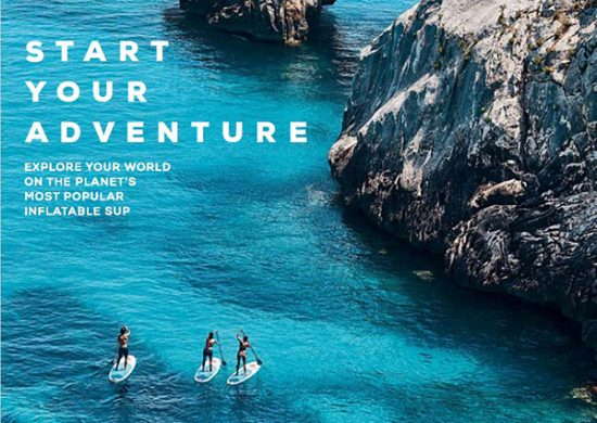'start your adventure' 3 paddle boarders on blue sea