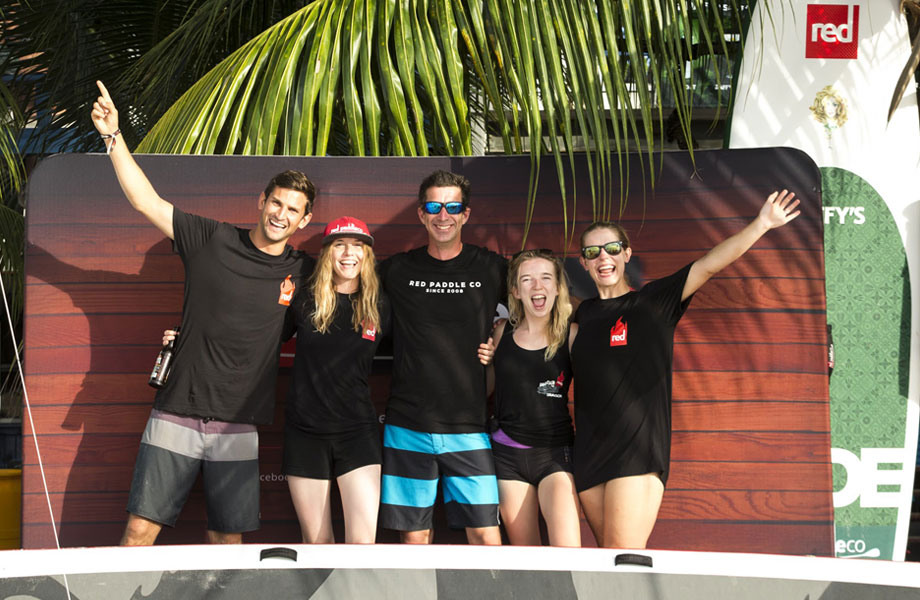The red paddle co team in Barbados