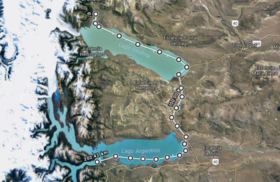 Map of lakes for world first stand up paddle board route Patagonia