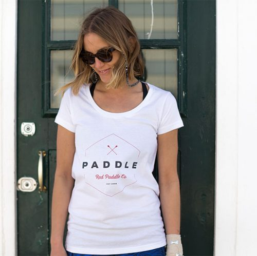 Female model wearing white logo t-shirt