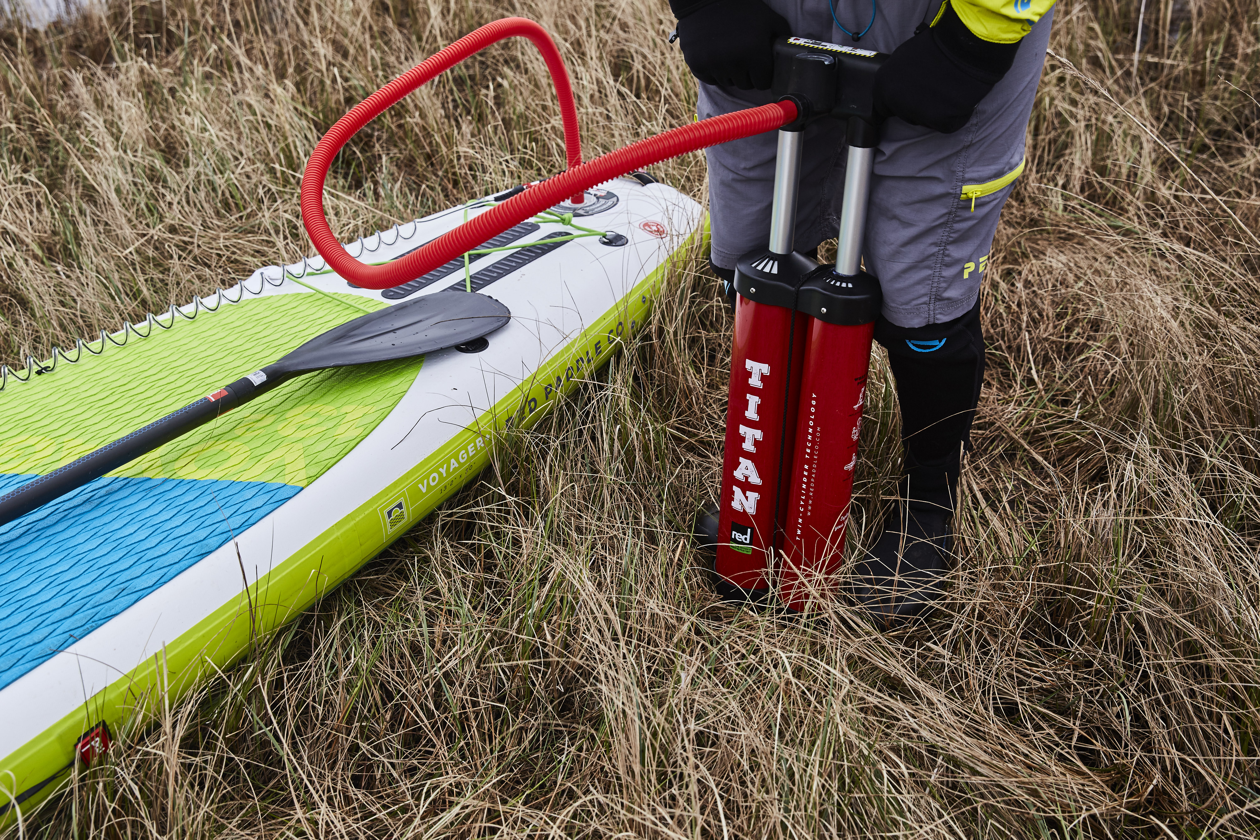 Red Paddle Co Voyager inflatable SUP and Titan pump