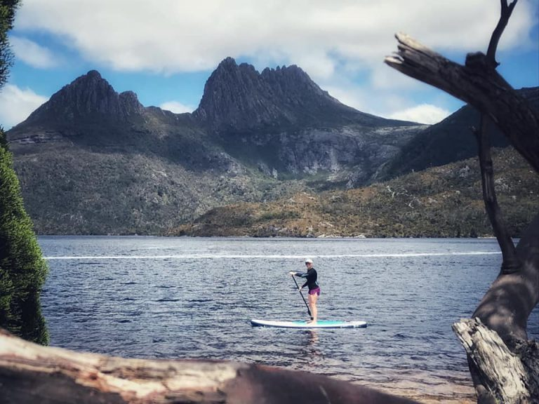 stand up paddleboarding on Dove Lake, Tasmania