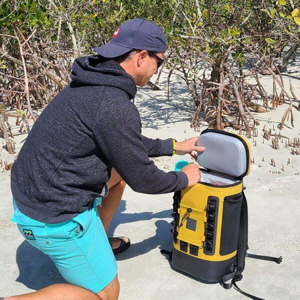 red original coolbag backpack mustard beach open
