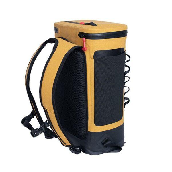 red original coolbag backpack mustard studio back side
