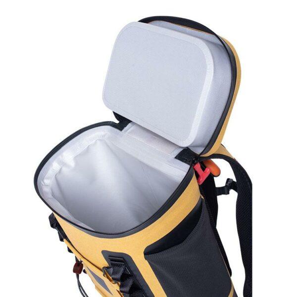 red original coolbag backpack mustard studio inside